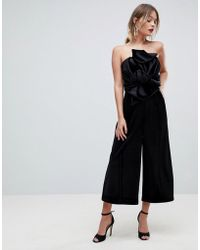 ASOS - Jumpsuit With Knot And Drape Detail In Velvet - Lyst