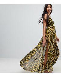 ASOS - Asos Design Tall Cheetah Print Plunge Chiffon Maxi Beach Dress - Lyst