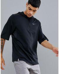 Nike - Pacer Short Sleeve Hoodie In Black Ah6303-010 - Lyst