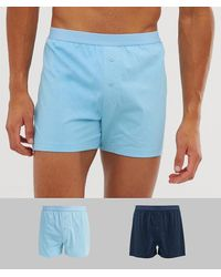 ASOS 2 Pack Jersey Boxers Navy & Light Blue Save