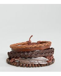 ASOS - Design Plus Bracelet Pack In Brown With Rose Gold Feather - Lyst