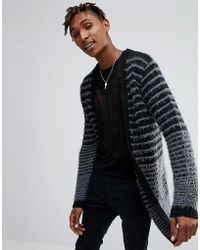 ASOS - Longline Boucle Textured Stripe Cardigan In Black - Lyst