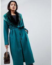 Vila - Wool Faux Fur Collar Wrap Coat - Lyst