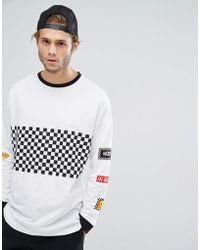ASOS - Oversized Long Sleeve T-shirt With Check Board Print And Sleeve Placements - Lyst