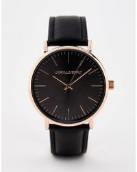 ASOS - Watch In Black With Rose Gold Case - Lyst