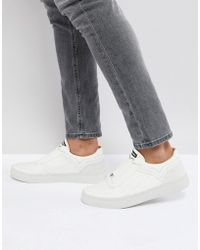 DIESEL - White Elasticated Front Leather Trainers - Lyst