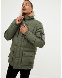 Criminal Damage - Eskimo Faux Fur Hood Parker Coat - Lyst