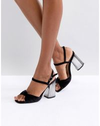 London Rebel - Block Heel Sandals - Lyst