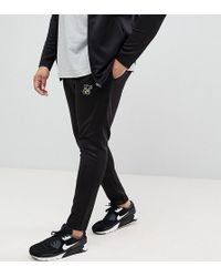 SIKSILK - Plus Skinny Track Joggers In Black With Gold Logo Exclusive To Asos - Lyst