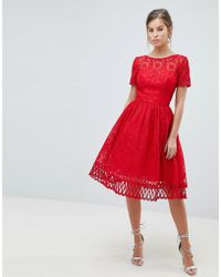Chi Chi London - Premium Lace Prom Dress With Cutwork Hem In Red - Lyst