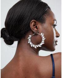 True Decadence - Blush Embellished Hoop Earrings - Lyst