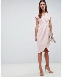 ASOS - Design Tux Midi Dress With Satin Detail - Lyst