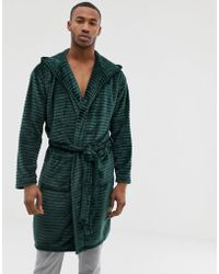 River Island - Dressing Gown With Hood In Burn Out Green - Lyst