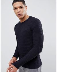 ASOS - Muscle Fit Textured Jumper In Navy - Lyst