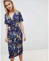 Warehouse   Trailing Floral Pleated Midi Wrap Dress   Lyst