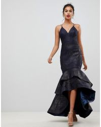 Bariano - Tiered Fishtail Mesh Maxi Dress In Navy - Lyst
