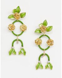 ASOS - Statement Earrings In Pretty Floral Drops In Gold - Lyst