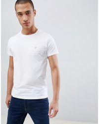 Farah - Farris Slim Fit Logo T-shirt In White - Lyst