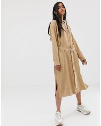 Weekday - Tie Front Shirt Dress In Camel - Lyst