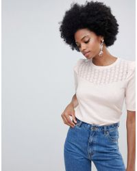 Oasis - Pointelle Knitted 3/4 Sleeve Top In Pink - Lyst