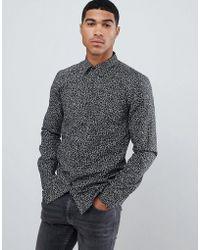 HUGO - Elisha Extra Slim Fit Poplin Shirt In Abstract Geo Print - Lyst