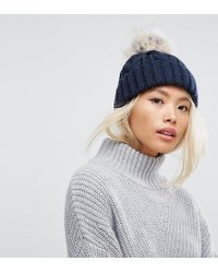 Stitch & Pieces - Cable Pom Beanie In Navy - Lyst