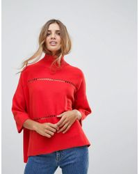 French Connection - Milano Mozart Laddered High Neck Jumper - Lyst