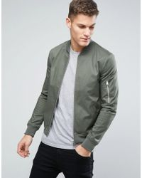 ASOS - Design Muscle Fit Bomber Jacket With Sleeve Zip In Khaki - Lyst