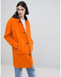 ASOS - Wool Mix Trench With Jersey Hood In Orange - Lyst