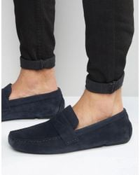 Red Tape - Driving Shoes In Navy Suede - Lyst