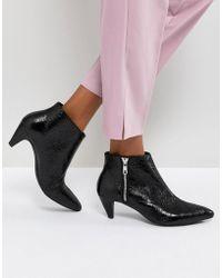 Pull&Bear - Textured Leather Look Kitten Heel Boot - Lyst