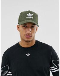 adidas Originals - Cappellino verde mlange con logo a trifoglio - Lyst 8b374d057d65