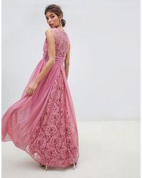 Little Mistress - V Neck Sheer Lace Back Maxi Dress - Lyst