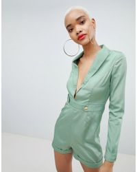 PrettyLittleThing - Tux Button Detail Playsuit - Lyst