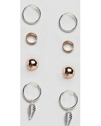 Reclaimed (vintage) - Inspired Hoop & Stud Earrings In 4 Pack Exclusive To Asos - Lyst