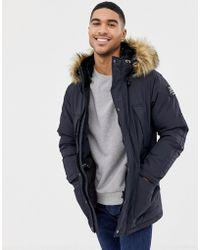 Schott Nyc - Artica X Hooded Nylon Parka Jacket Detachable Faux Fur Trim Slim Fit In Navy - Lyst