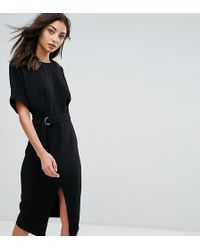 ASOS - Smart Woven Midi Dress With D-ring - Lyst