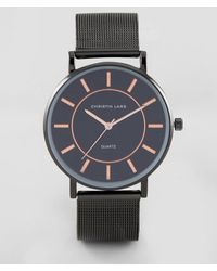 Christin Lars - Black Bracelet Watch With Round Black Dial And Rose Gold - Lyst