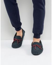 Dunlop - Moccasin Slippers In Navy Suede - Lyst