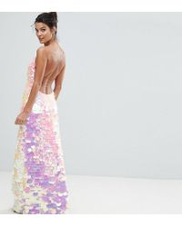 A Star Is Born - Cami Strap Maxi Dress With Iridescent Overscale Sequins - Lyst