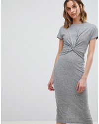 AllSaints - Striped Midi Dress With Knot Front - Lyst