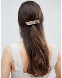 ASOS - Design Sleek Barette Hair Clip In Brushed Gold - Lyst