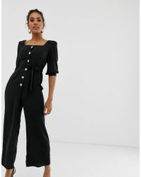 4008a85096d Lyst - ASOS Denim Sweetheart Neck Puff Sleeve Jumpsuit In Stripe in ...