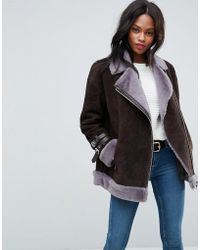 ASOS - Suede Aviator With Faux Shearling - Lyst