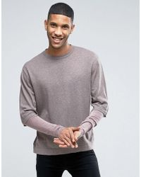 ASOS - Cotton Jumper With Double Layer Sleeve - Lyst