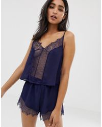 Wolf & Whistle - Lace Trim Cami Strap Pyjama Set In Navy - Lyst