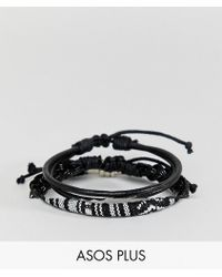 ASOS DESIGN - Plus Leather And Woven Bracelet Pack In Monochrome - Lyst