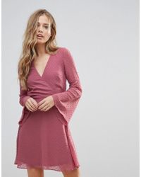 Oh My Love - Textured Flare Sleeve Baby Doll Dress - Lyst