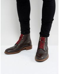 Dune - Pebble Brogue Boots In Brown - Lyst