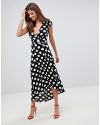 AX Paris - Polka Dot Wrap Maxi Dress - Lyst